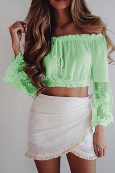 Panel Lace Bow Tie the Plain Cropped Shoulder Off Popular Front Blouse d5Apqd