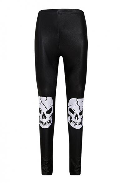 Skinny Skull Printed Elastic Waist Slim Sports Leggings