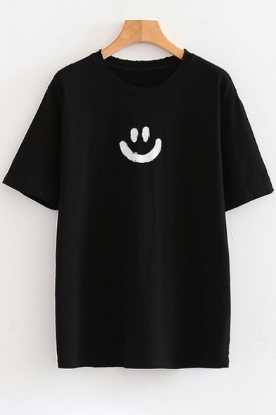 Printed Tee Sleeve Smile Round Back Face Short Letter Neck 8xxqgE