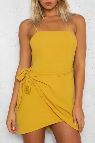 Spaghetti Straps Sleeveless Plain Tied Waist Asymmetric Hem Hollow Out Back Mini A-Line Dress