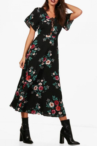 Stylish Floral Printed V Neck Lace Up Front Short Sleeve Maxi A-Line Dress