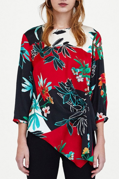 Leaf Neck Floral Blouse Print Color Asymmetrical Hem Block Trendy Round Loose 5TYAwwq