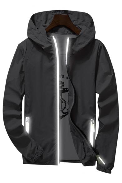 Basic Simple Plain Long Sleeve Zip Up Sun-Proof Hooded Coat