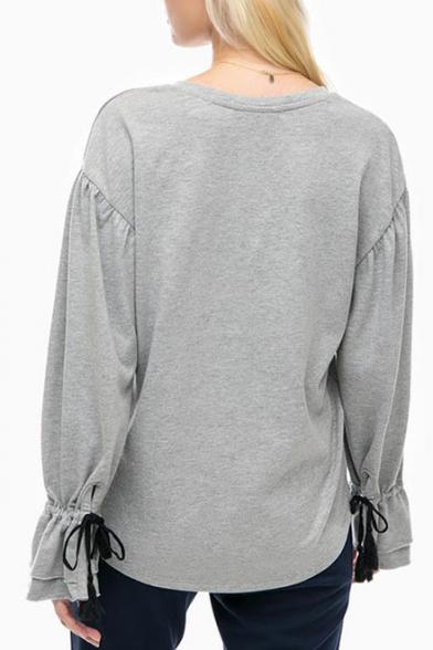 Plain Sleeve Simple Cuff V Basic Long Tee Leisure Neck Ruffle fUxwnWPW