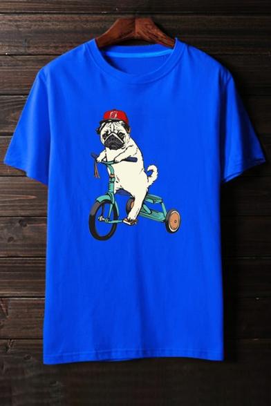 Short Cute Print Cartoon Sleeves Casual Puppy Round Neck Dog Tee Bike Ba06qwBp