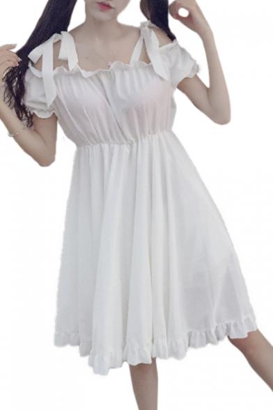 Dolly Plain Cold Shoulder Ruffle Hem Bow Tie Mini A-line Dress