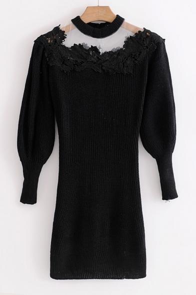 Elegant Lace Gauze Patchwork Bodycon Mini Plain Sweater Dress
