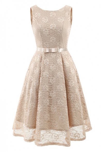 Elegant Ladylike Lace Panel Bow Belted Zip Back Midi A-line Dress