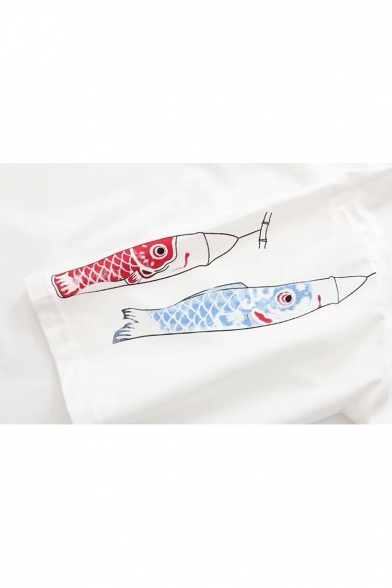 Pattern Streamer Short Tee Neck Japanese Round Carp Fancy Pocket Sleeves Fish HwWTq4q6