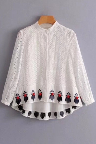 Fancy Shirt Front Lace Detail Panel Popular Dipped Pompom Hem Embroidery Button vvrHwAxq