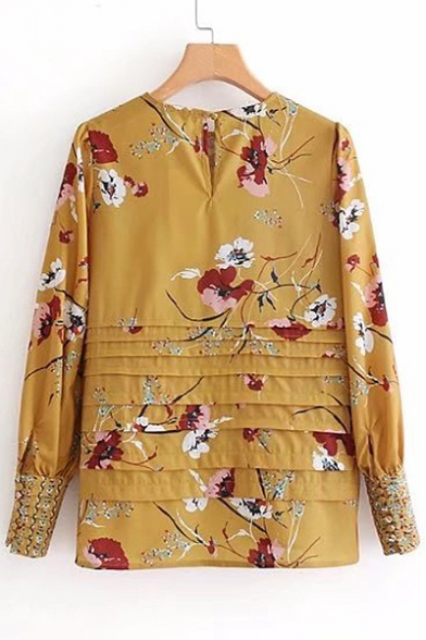 Blouse Pleated Floral Round Front Long Sale Pattern Neck Sleeve Hot vUnp0wzxqO