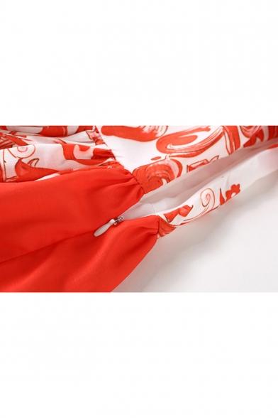 Midi Floral Dress Line A Lady Neck Sleeve Short Printed Square pwxYv6