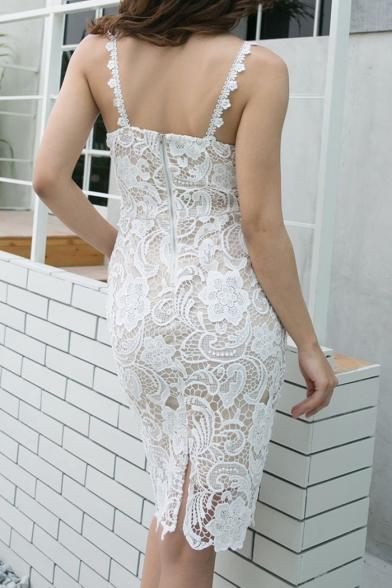 Lady's Spaghetti Straps Sleeveless Floral Pattern Lace Slim Midi Cami Dress