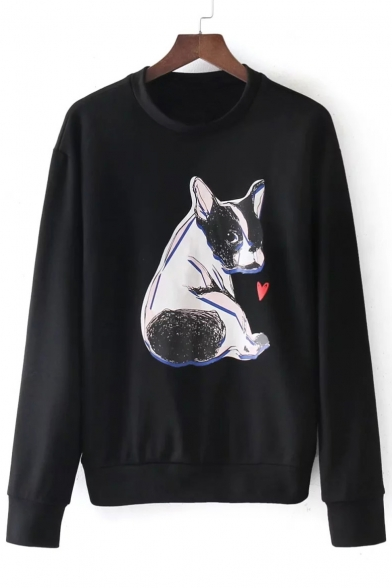 Dog Neck Pug Sleeve Pullover Long Printed Sweatshirt Round Lovely T541qC