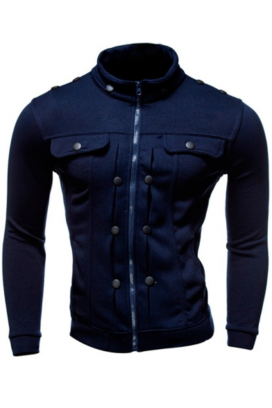 Up Fashion Long High Sleeve Button Zip Plain Neck Detail Jacket Men's YEUdqE