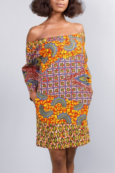 Peasant Tribal Print Off the Shoulder Long Sleeve Shift Mini Dress