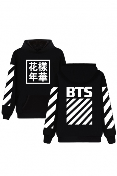 Купить со скидкой Popular Striped Chinese BTS Letter Print Long Sleeves Pullover Hoodie with Pocket
