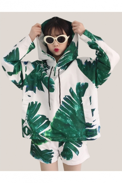 Plant Spring Loose Fashion Leaf Sports Hoodie Shorts Drawstring Print with rrTHqSx5w