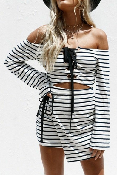 Spring Fashion Striped Pattern Lace-up Detail Hollow Out Two-Way Mini Asymmetrical Dress