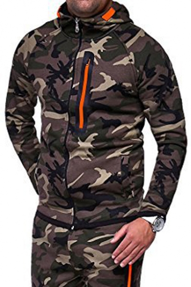 Stylish Camouflaged Pattern Zip Up Long Sleeve Pockets Hooded Jacket
