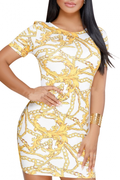 Stylish Gold Chain Printed Round Neck Short Sleeve Mini Bodycon Dress