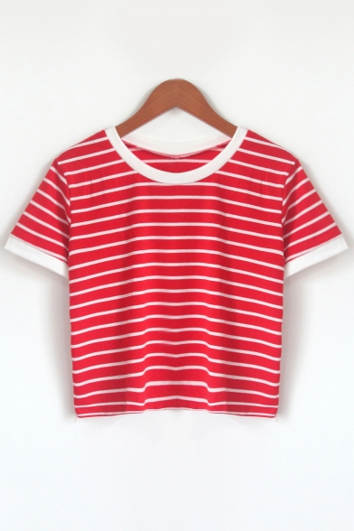 Cropped Stylish Sleeves Pattern Neck Tee Round Striped Short Casual 1aw10A