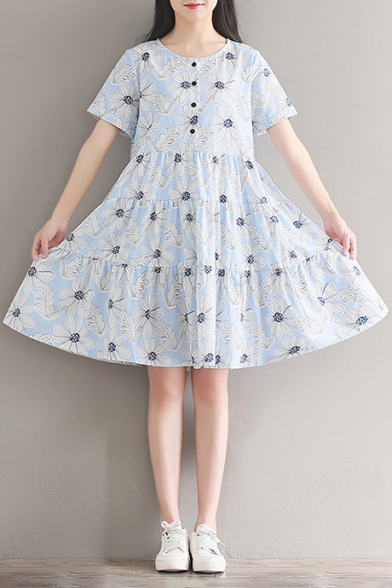 5e5d5a2c96ab Summer Collection Floral Printed Round Neck Short Sleeve Buttons Down Midi Smock  Dress