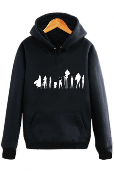 Print Pocket Pullover Long with Hoodie Character Cartoon Sleeves Unique 1qZw8BxB