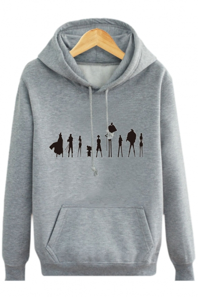 with Long Character Unique Pocket Hoodie Sleeves Cartoon Print Pullover WqAq04nTR7