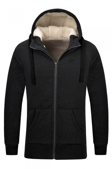 with Warm Simple Up Winter's Pockets Hooded Coat Sleeve Zip Embroidered Long zP5qwqAd