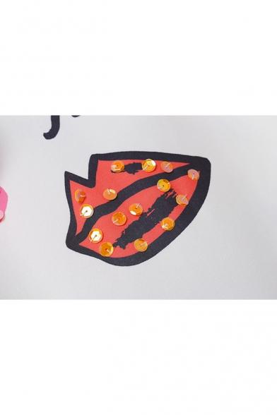 Abstract Eye Mouth Face Pattern Ruffle Chiffon Patchwork Mini T-shirt Dress