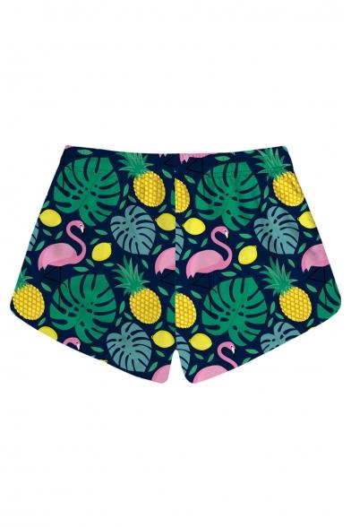 Cartoon Flamingo Leaf Printed Drawstring Waist Shorts with Pockets