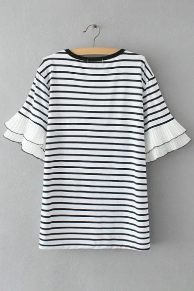 Round Striped Tee Casual Cuff Knitted Neck Sleeves Pattern Ruffle Short AIqwqgfn