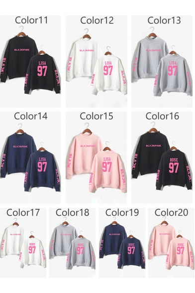 Pullover Loose Sleeve Letter Printed Long High Neck Sweatshirt Chic vwYaA1z0x