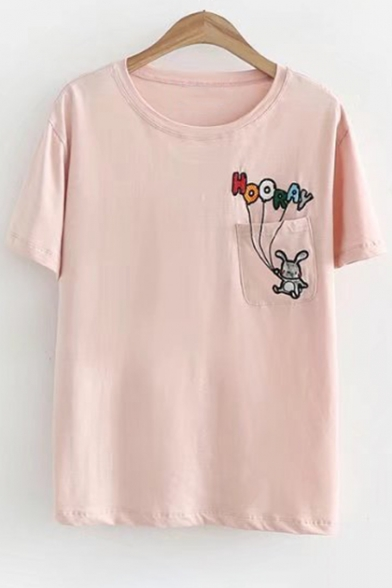 Rabbit Letter Embroidery Neck Round Childish Tee Sleeves Pocket Chest Short 5vTdTCqw