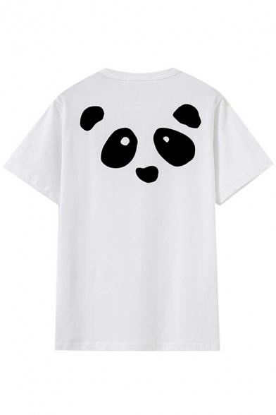 Letter Cute Panda Summer Cartoon T shirt Short Round Sleeves Neck Print wwAE61qS