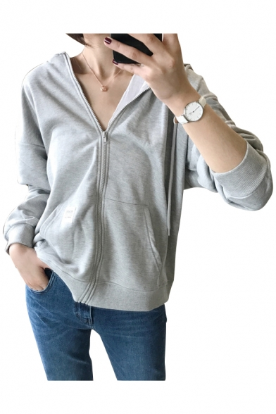 Long Hoodie Zippered Sleeves Plain Pockets with Style Daily Women's fHcq4Enz