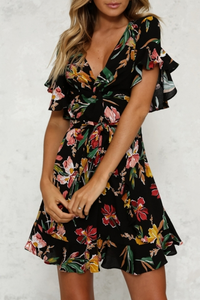Plunge Print Dress Sleeve Belted Floral Neck Short Hot Fancy Bow Mini A line EtBg7qwxSx