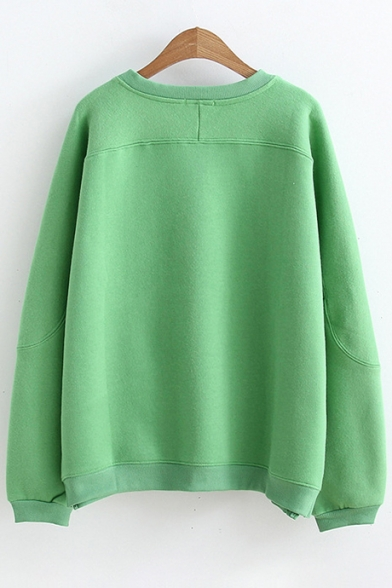 Pullover Neck Sweatshirt Long Embroidered Round Letter Sleeves Leisure gYq6w