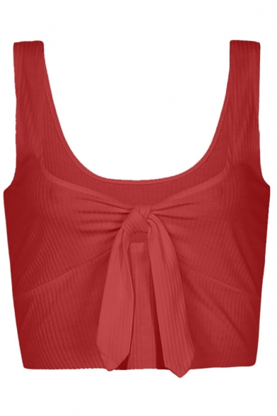 Plain Cropped Sleeveless Neck Front Tied Tank New Round Arrival gZAqxSx