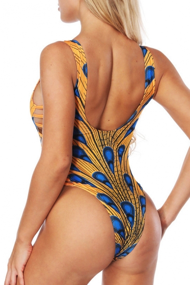 Peacock Feather Print Hollow Out Detail Plunge Neck Ladder Side Swimwear