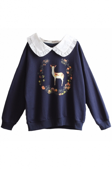 Peter Deer Long Leisure Printed Floral Pullover Pan Collar Sweatshirt Sleeve xOxq7