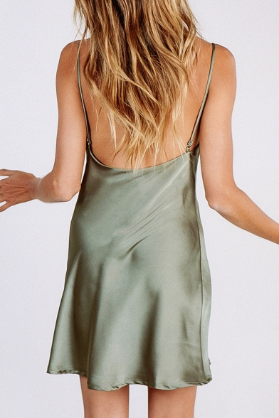 Simple Plain Spaghetti Straps Open Back Mini Summer Cami Dress