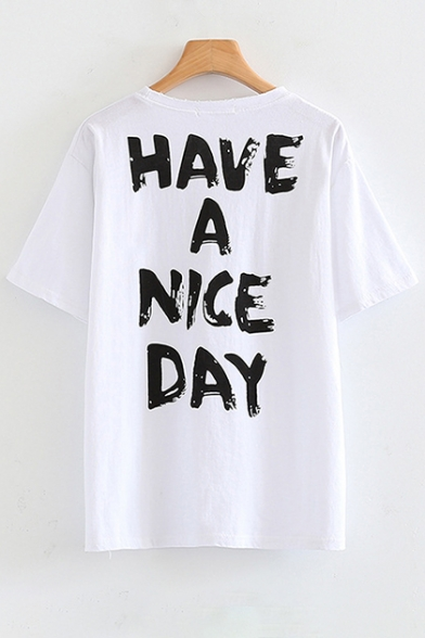 Short Round Back Smile Neck Sleeve Face Printed Tee Letter Pqtwt6YI7