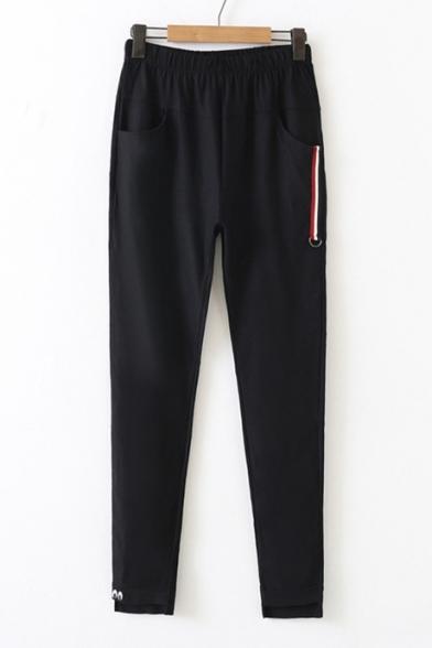 Купить со скидкой Sportive Elastic Waist Pocket Detail Strap Embellished Embroidered Pants