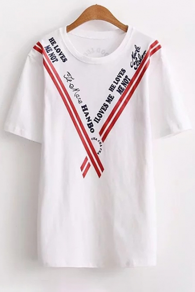 Sleeve Printed Letter Round Short Leisure Tee Striped Neck 6Xqzwwg