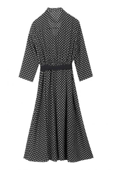 Vintage Style Choker V-Neck Bow Belted Waist Polka Dotted Midi Wrap Dress