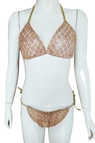 Beach Style Sequined Halter Neck Triangle Tie Side Sexy Women's Bikini