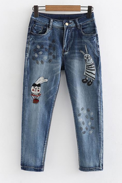 Cartoon Animal Embroidered Leisure Zipper Fly Cropped Jeans