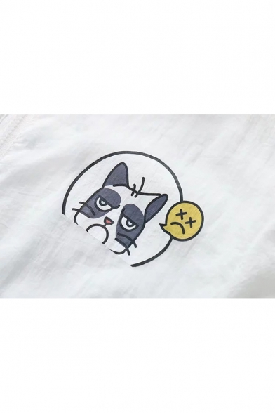 Color Cat Cartoon Zip Up Long Block Proof Coat Sun Printed Sleeve 6E6qpw